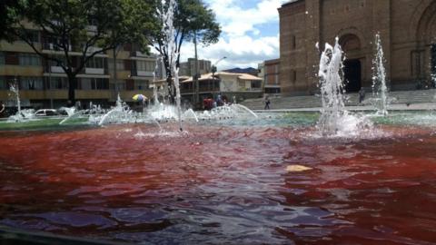 Activismo y arte se unieron para teñir las aguas del Parque Bol&i...