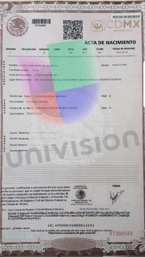 Acta de nacimiento de Matías Gil De Sousa bajo el registro oficial mexic...