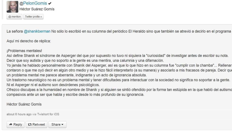 Gomís publicó su derecho de réplica donde se disculpó a nombre de Shanik...