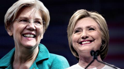 La senadora Elizabeth Warren y la exsecretaria de Estado Hillary Clinton.