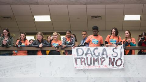 Un grupo de dreamers durante una protesta en el Congreso para pedir que...