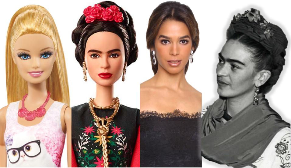 Comparativa estética de la muñeca Barbie tradicional, la Barbie Frida Ka...