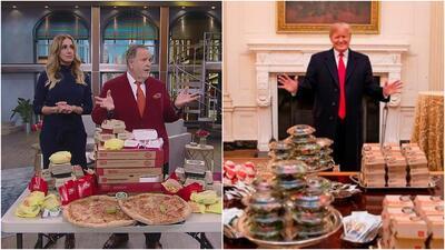 Sin bandejas de plata, ni Casa Blanca: En El Gordo y La Flaca hubo comida rápida al estilo Donald Trump