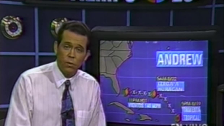 Meteorologist John Morales covers Hurricane Andrew in 1992 for Univision...