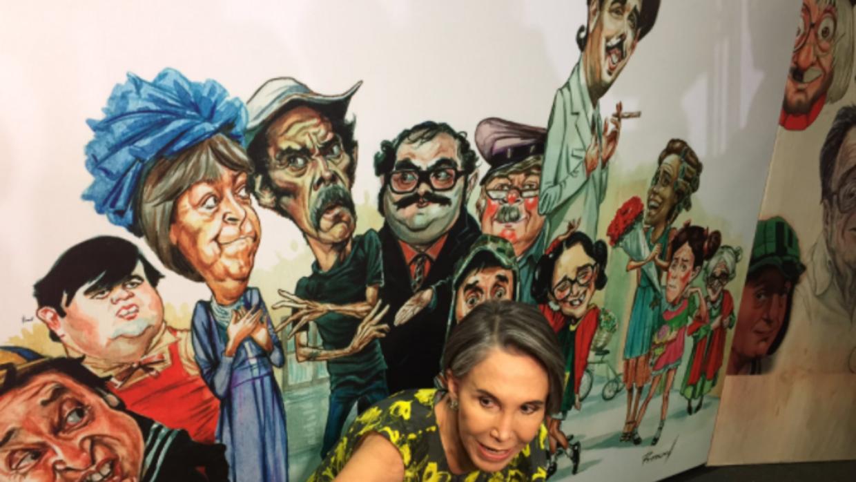 Florinda Meza inaugura expocisión de 'Chespirito'.