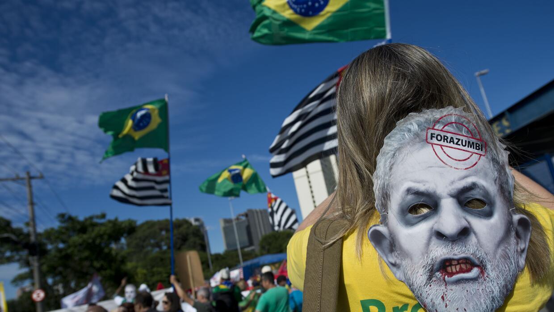 Manifestación contra Lula da Silva el pasado 17 de febrero en Brasil
