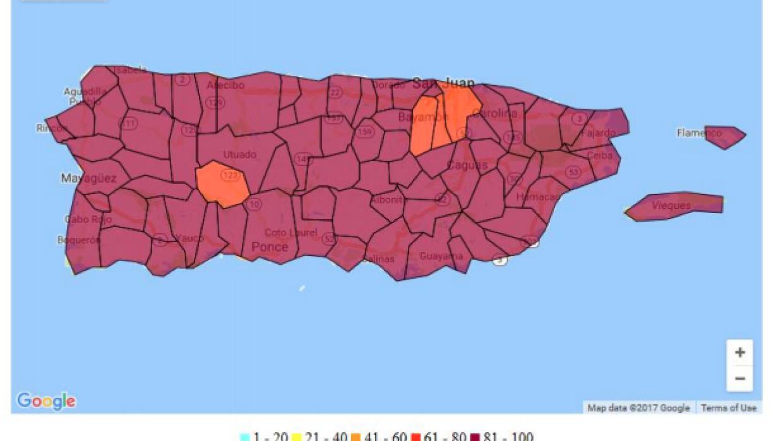 Mapa que ilustra del 1 al 100 por ciento la falta de servicio de celular...