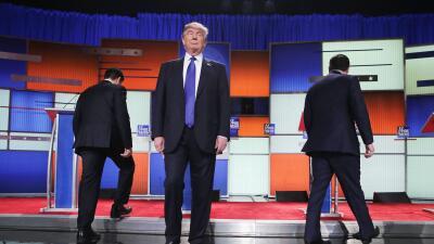 Rubio, Trump y Cruz en el debate republicano de Detroit, en marzo de 2016