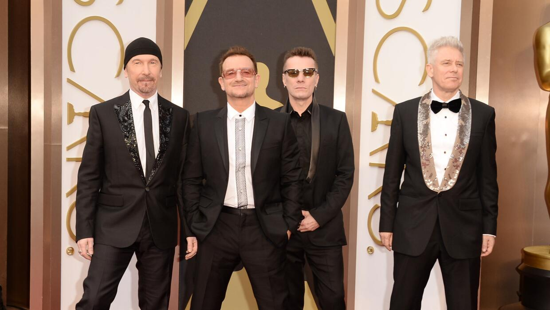 HOLLYWOOD, CA - MARCH 02: (L-R) Musicians The Edge, Bono, Larry Mullen J...