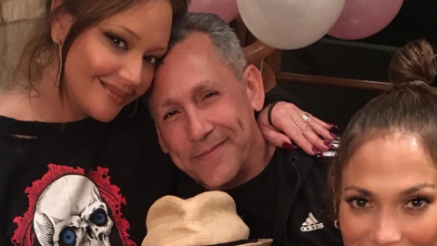 Leah Remini, Angelo Pagan, Jennifer Lopez y Marc Anthony en la fiesta de...
