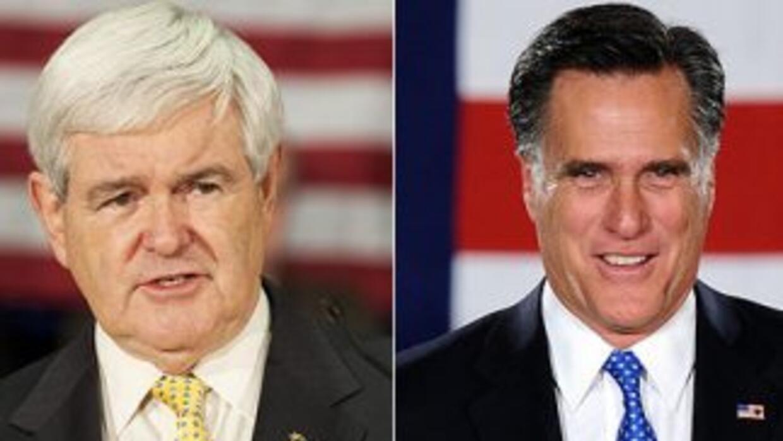Los precandidatos presidenciales republicanos Newt Gingrich y Mitt Romne...