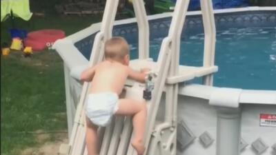 Niño de 2 años trepa una escalera para meterse en la piscina y su osadía se vuelve viral