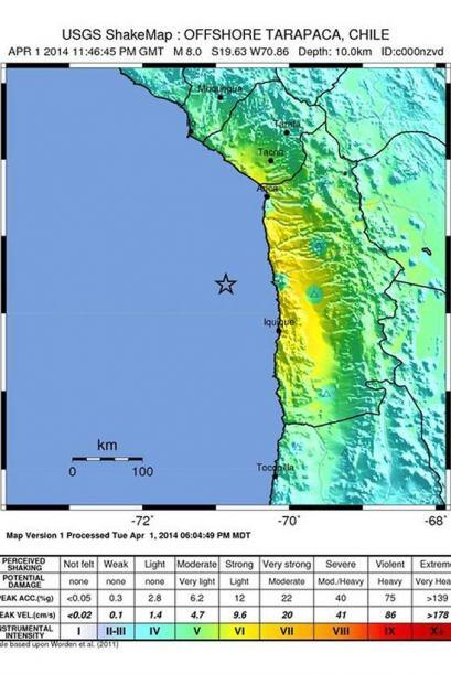 Su epicentro se ubicó a 85 kilómetros al suroeste de Cuya...