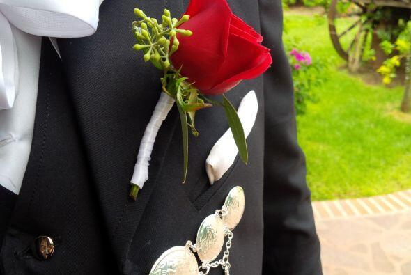 Una rosa roja en el traje del novio, símbolo del amor que existe entre é...