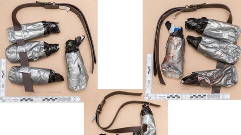 Cinturones de falsos explosivos empleados por los tres terroristas de Lo...