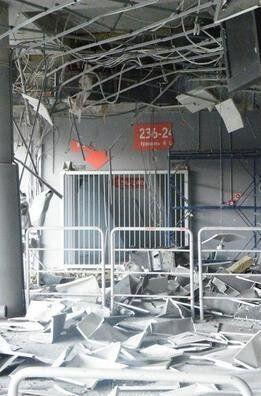 El estadio del Shakhtar Donetsk, el Donbass Arena, fue dañado por el bom...