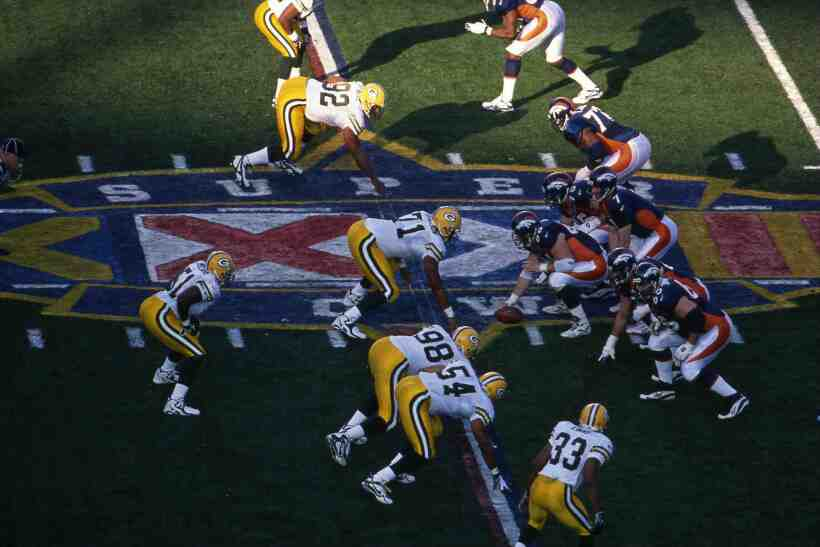 Recuerdo del Super Bowl XXXII entre los Green Bay Packers y Denver Broncos