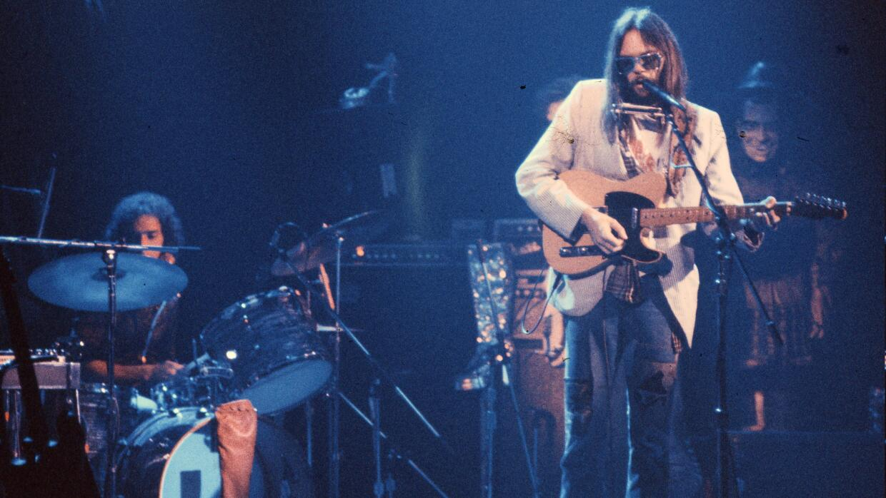 Neil Young performs on stage at the Rainbow Theatre with The Santa Monic...