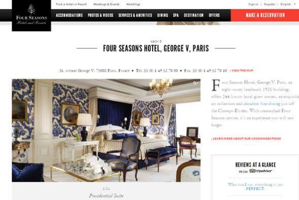 10. FOUR SEASONS GEORGE V.- Ubicado en Capos Elíseos, este lujoso hotel...
