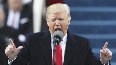 Donald Trump durante su toma de posesión.