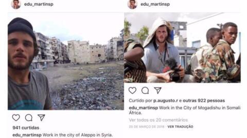 Eduardo Martins en dos imágenes de su cuenta de Instagram, donde...