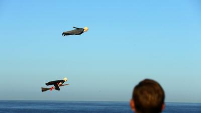 En fotos: No es un ave, no es un avión, son Clinton y Trump surcando los cielos