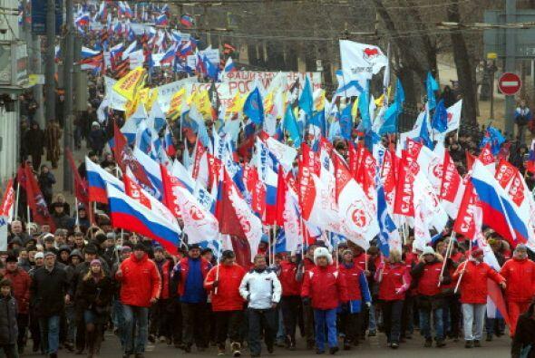 En Rusia hubo una concurrida manifestación en apoyo a la invasión a Crim...