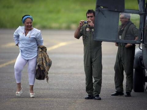 Piedad Córdoba, ex senadora de Colombia, emprendió el viaj...