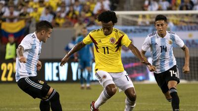 En fotos: Mucha pelea, poco fútbol, Colombia y Argentina empataron en Nueva Jersey