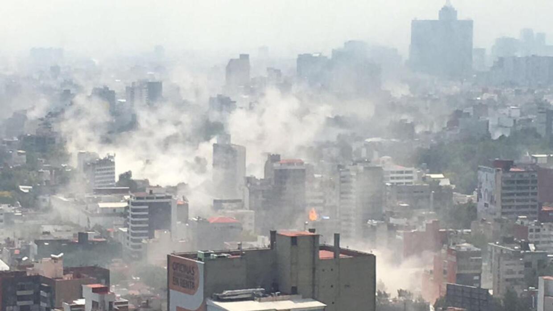 Aerial shot of Mexico City after the quake