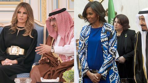A la izquierda, Melania Trump en su primera jornada en Riad; a la derech...