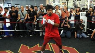 Pacquiao empezó sesión de sparrings.