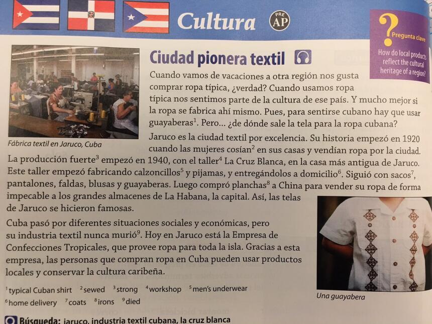 Extractos de los libros de enseñanza de español '¡Qué Chévere!'