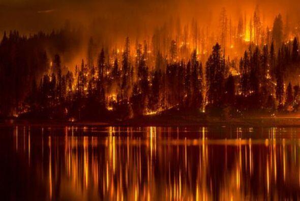 No se trata de una pintura se trata de la acción de las llamas durante l...