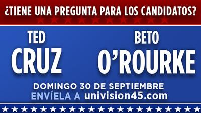 Envíenos sus preguntas para el debate entre Ted Cruz y Beto O'Rourke el domingo 30 de septiembre