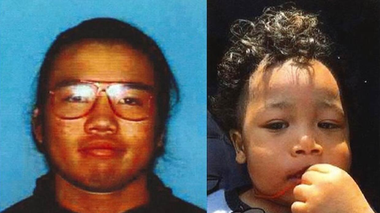 El niño Makai Bangoura y su padre Jason Lam.