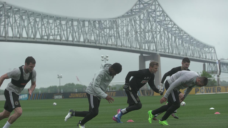 Otro aspecto del entrenamiento del Filadelfia Union, esta vez de los jug...