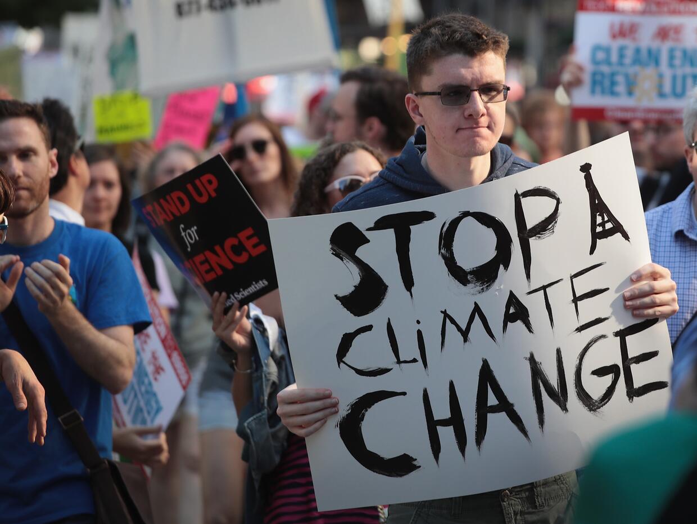 Una protesta contra el cambio climático en Chicago, en junio de 2...