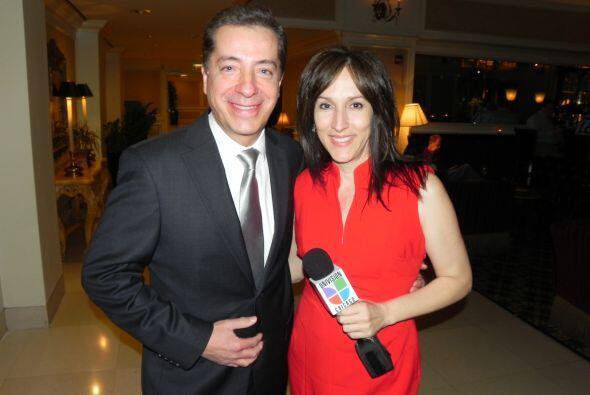 Jorge Barbosa con la directora de Noticias Univisión Chicago, Marisol Seda.
