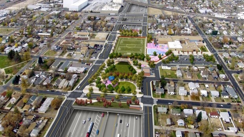 Carretera verde: una representación digital muestra la cubierta herbosa...