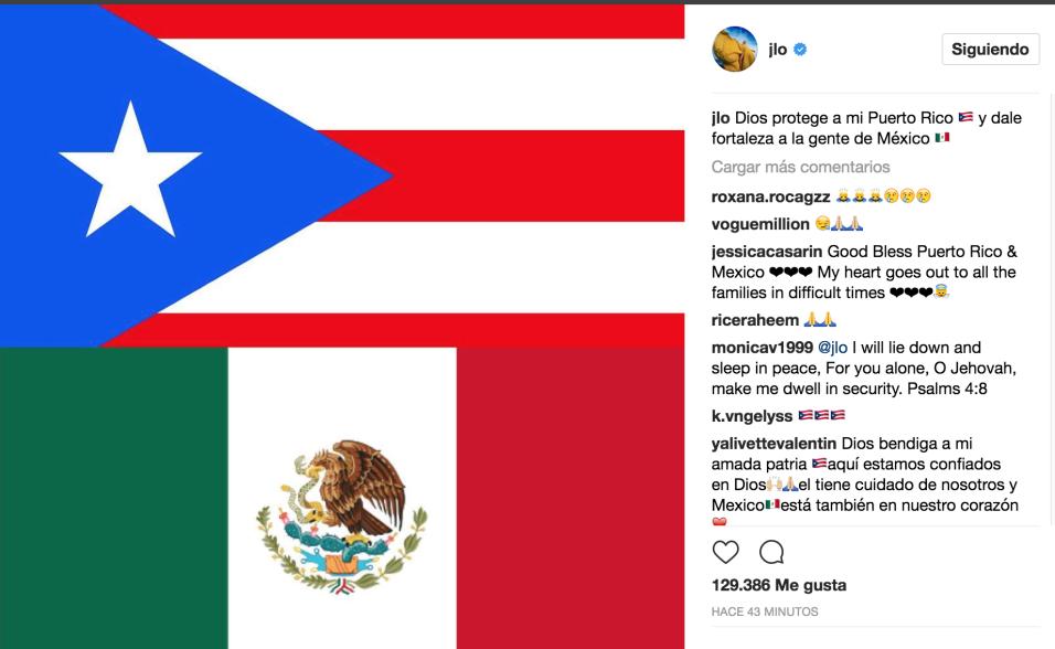"""""""Dios protege a mi Puerto Rico y dale fuerza a la gente de M&eacute..."""