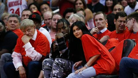 Kylie Jenner and Travis Scott sit courtside at Game Five of the Western...