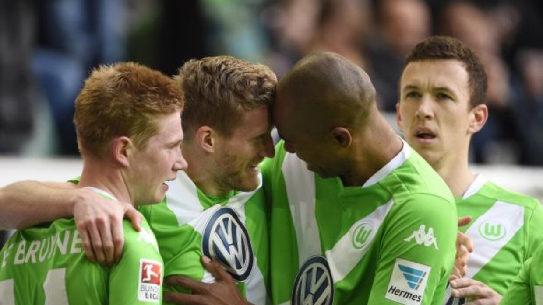 Andre Schuerrle celebra su gol en el triunfo del Wolfsburgo.