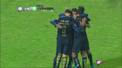 Dante López marca el primer gol de Pumas sobre Zacatepec