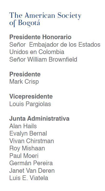 Directivos de The American Society of Bogota