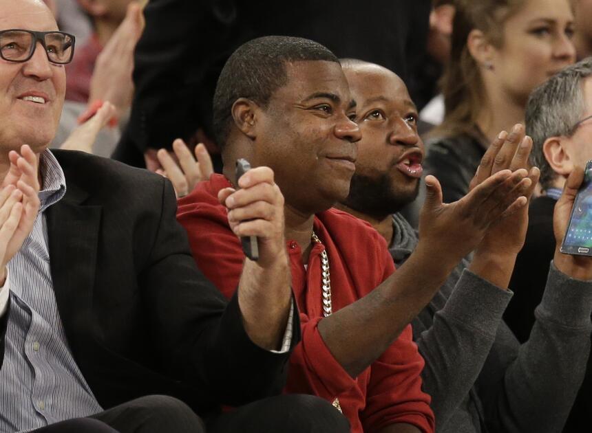 Tracy Morgan disfrutando de la NBA.