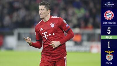 El Bayern goleó al Benfica y Lewandowski se volvió histórico