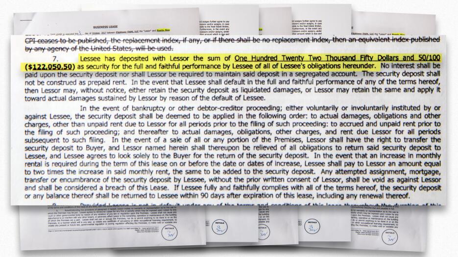 En el documento queda registrado que el arrendatario pagó 122,050 dólare...