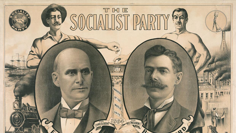 El cartel electoral de Debs en 1904 con su compañero para vicepresidente.