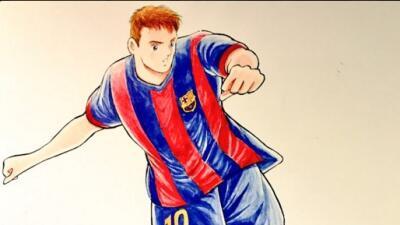 Messi como personaje de caricatura